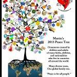 "Mattie's Peace Tree 2013 with ""December Prayer"" ornamental peace expressions submitted by children and adults in 32 countries around the world."