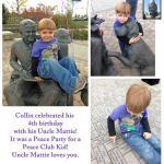 "Colin P celebrated his 4th birthday with a party in the Peace Garden at ""Uncle Mattie's Park"""