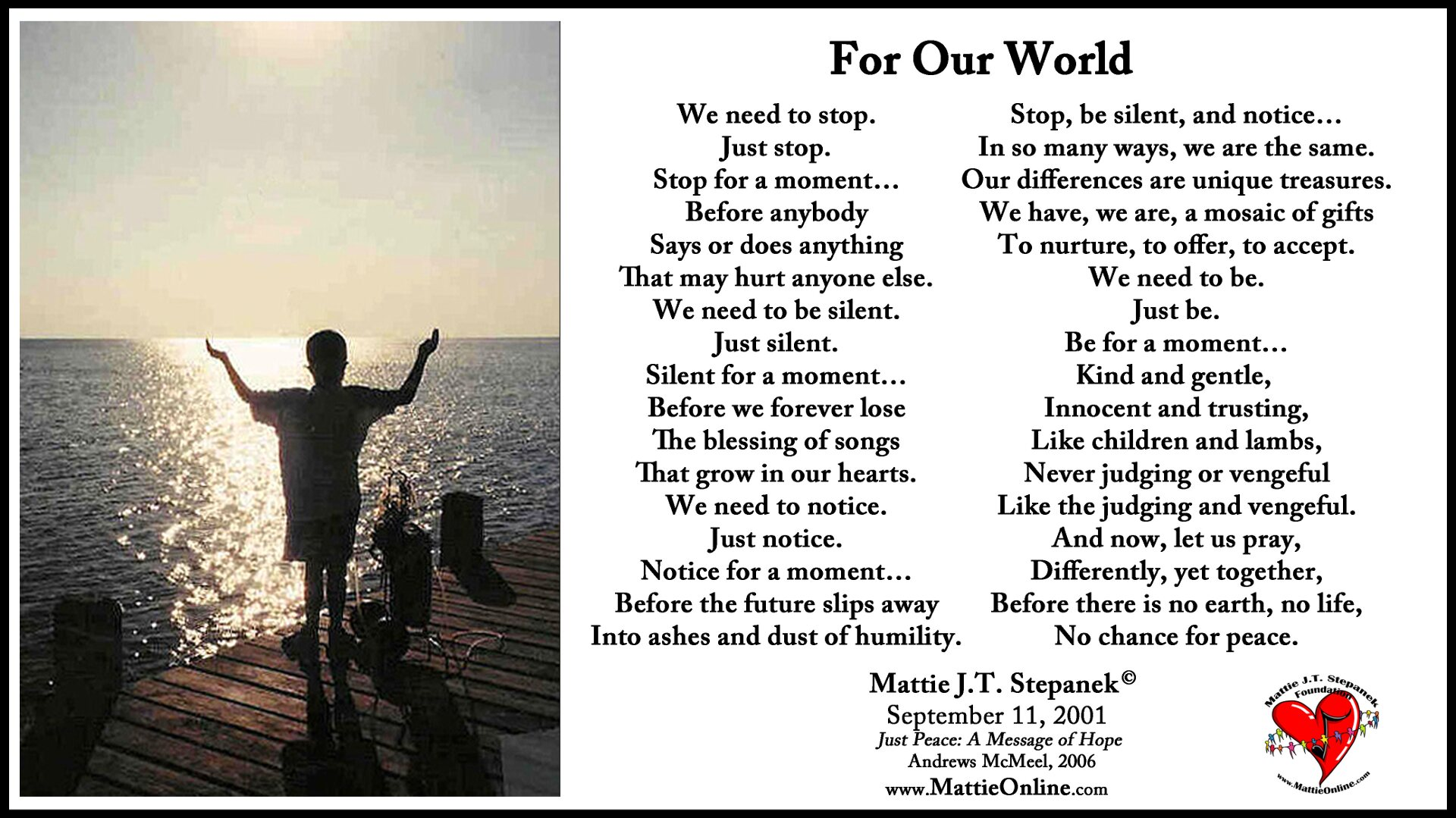 9 11 thoughts for our world mattie j t stepanek foundation